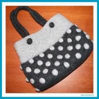 Tasche Grau mit Punkten | antetanni strickt und filzt