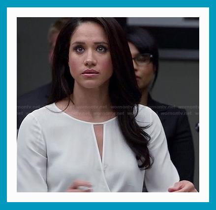 antetanni-gefaellt_Bluse_Suits_Season-3-Episode-7-rachels-white-keyhole-wrap-blouse
