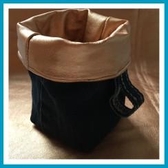 antetanni-naeht-Mini-Utensilo-Jeans-Kunstleder-kupfer-gewendet