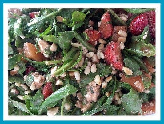 antetanni-kocht-Salat-Rucola-Erdbeeren-Melonen-Kaese